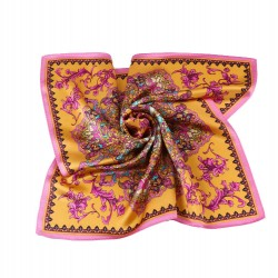 100% Silk Scarf, Petite Square, Charmeuse, Eternal Paradise, Gold & Rose
