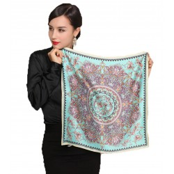 100% Silk Scarf, Petite Square, Charmeuse, Eternal Paradise, Turquoise/Rose