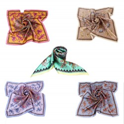 100% Silk Scarf, Petite Square, Charmeuse, Set of 5, Eternal Paradise