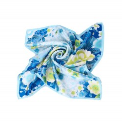 100% Silk Scarf, Petite Square, Charmeuse, Floral Paradise, Blue