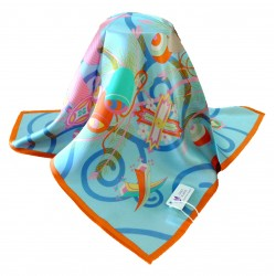 100% Silk Scarf, Petite Square, Charmeuse, Prance With The Wind, Blue