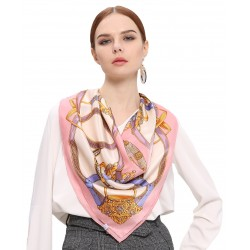 100% Silk Scarf With Hand Rolled Edges, Large, Wheel of Belts & Chains, Pink