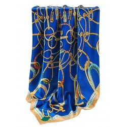 100% Silk Scarf With Hand Rolled Edges, Large, Equestrian Yoke, Blue