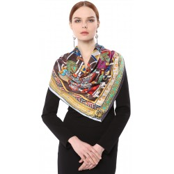 100% Silk Scarf With Hand Rolled Edges, Large, Precious Collars, Multicolored