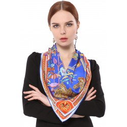 100% Silk Scarf With Hand Rolled Edges, Large, Fairy Land, Royal Blue & Red