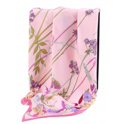 100% Silk Scarf With Hand Rolled Edges, Large, Floral Elegance, Pink