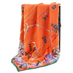 100% Silk Scarf With Hand Rolled Edges, Large, Floral Elegance, Orange