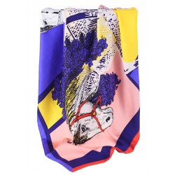 100% Silk Scarf With Hand Rolled Edges, Large, Equine Majesty, Royal Blue