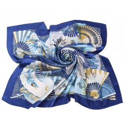 100% Silk Scarf, Extra-Large, Oriental Fans, Blue