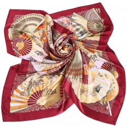 100% Silk Scarf, Extra-Large, Oriental Fans, Maroon