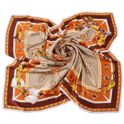 100% Silk Scarf, Extra-Large, Regal Horse and Carriage, Orange