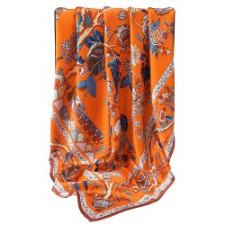 100% Silk Scarf, Extra-Large, Beanstalk, Orange