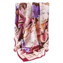 100% Silk Scarf, Extra-Large, Flowers & Pen & Ink Wildlife, Purple