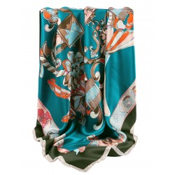 100% Silk Scarf, Extra-Large, Crown Ornaments, Teal