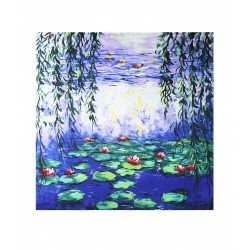 100% Silk Scarf With Hand Rolled Edges, Large, Claude Monet, Summer Water Lilies
