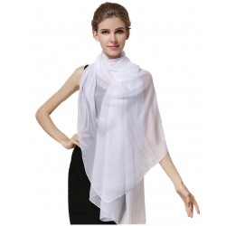 100% Silk Scarf, Oblong, Chiffon, Solid Color, White