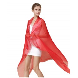 100% Silk Scarf, Oblong, Chiffon, Solid Color, Red
