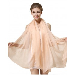 100% Silk Scarf, Oblong, Chiffon, Solid Color, Nude