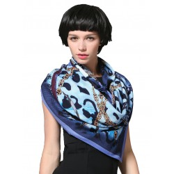 100% Ultrafine Wool Scarf, Large Square by God's Dream, Blue