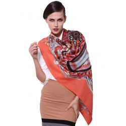 100% Ultrafine Wool Scarf, Large Square by Retro Style, Salmon