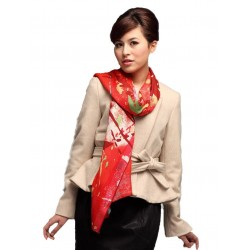 100% Ultrafine Wool Scarf, Oblong by Color Focus, Red