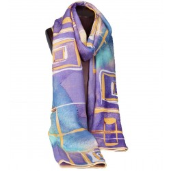 100% Ultrafine Wool Scarf, Oblong by Leisure, Purple
