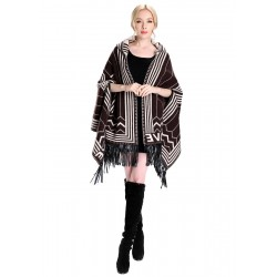 Blended Cashmere Shawl with Hood, Sleeves & Fringe Trim, Coffee & White