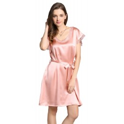 Grace Silk 100% Silk Nightgown, Petite, Solid Color, Pink