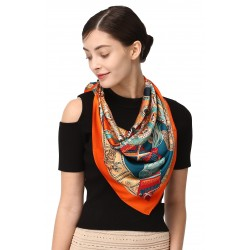 100% Silk Scarf, Extra-Large, Tribal Shield, Green/Orange