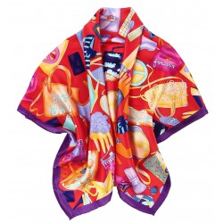100% Silk Scarf With Hand Rolled Edges, Large, Art Deco Handbags, Red With Purple Trim