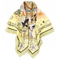100% Silk Scarf With Hand Rolled Edges, Large, Floral Crowns, Yellow