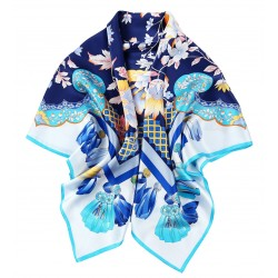 100% Silk Scarf, Extra-Large, Floral Ribbon Kaleidoscope, Navy Blue with Turquoise Trim