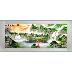 Grace Art, Extra Large, Oblong Asian Silk Embroidery Art Wall Hanging, Wide Format, Rising Sun