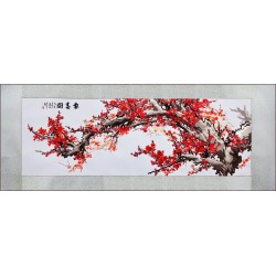 Grace Art, Extra Large, Oblong Asian Silk Embroidery Art Wall Hanging, Wide Format, Plum Blossom