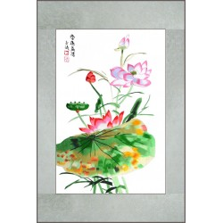 Grace Art, Large Asian Silk Embroidery Art Wall Hanging, Beautiful Fragrance