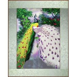 Grace Art, Extra-Large Asian Silk Embroidery Art Wall Hanging, Loving Peacocks In Tree