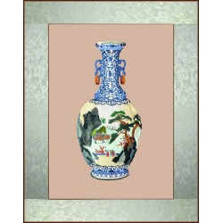Grace Art, Large Asian Silk Embroidery Art Wall Hanging, Vase