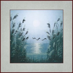 Grace Art, Large Asian Silk Embroidery Art Wall Hanging, Seagulls