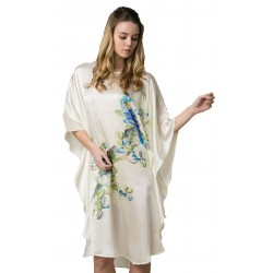 Grace Silk 100% Silk Nightgown, Hand Painted Parrot Paradise, Ivory