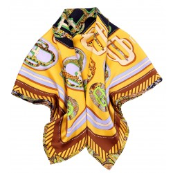 100% Silk Scarf With Hand Rolled Edges, Large, Belt Buckles, Cantaloupe