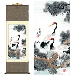 Grace Art Asian Wall Scroll, Cranes Resting in a Pine Tree