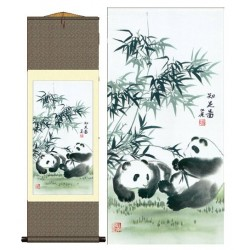 Grace Art Asian Wall Scroll, Pandas