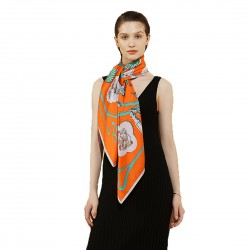 100% Silk Scarf, Extra-Large, Tags And Tassles, Orange