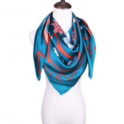 100% Silk Scarf, Extra-Large, Tags And Tassles, Blue-Green
