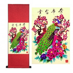 Grace Art Asian Paper Cutting Wall Scroll, Peacocks And Peonies