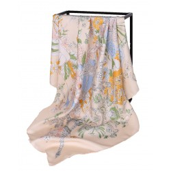 100% Silk Scarf With Hand Rolled Edges, Large, Floral Architecture, Peach