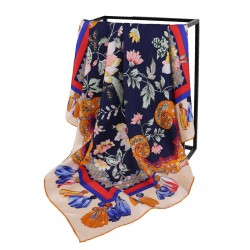 100% Silk Scarf With Hand Rolled Edges, Large, Floral Burst, Navy Blue with Orange Trim