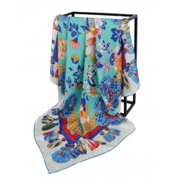 100% Silk Scarf With Hand Rolled Edges, Large, Floral Burst, Aquamarine with Blue Trim