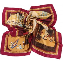 100% Silk Scarf, Extra-Large, Traditional Life Scenes, Maroon