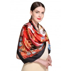 100% Silk Scarf, Extra-Large, Emporer's Concubine, Red & Gold